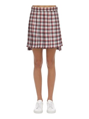 Thom Browne Pleated check wool mini skirt