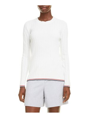 Thom Browne pointelle rib cotton blend sweater