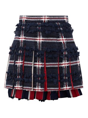 Thom Browne ribbon-trimmed tartan wool-blend mini skirt