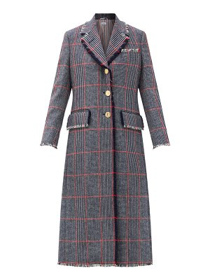Thom Browne single-breasted fringed checked wool-tweed coat