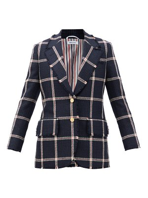 Thom Browne single-breasted fringed checked wool-tweed jacket