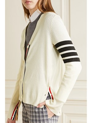 Thom Browne striped pointelle-knit cotton and silk-blend cardigan