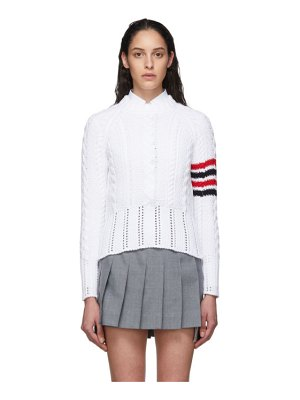 Thom Browne white aran cable 4-bar crewneck sweater