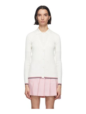 Thom Browne white crepe pointelle v-neck cardigan
