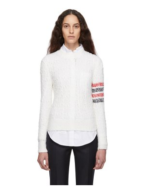 Thom Browne white open stitch 4-bar sweater