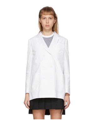 Thom Browne white seersucker pleat back blazer