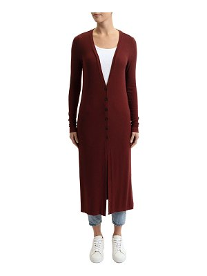 Three Dots Long Button-Front Cardigan w/ Slit