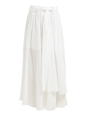 THREE GRACES LONDON dorothea waist tie crinkle cotton midi skirt