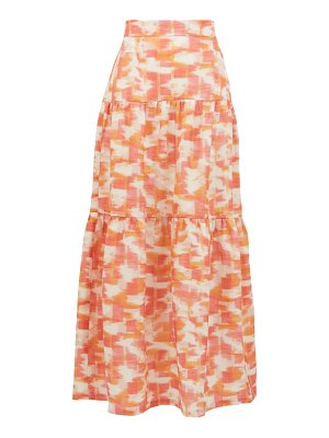 THREE GRACES LONDON francesca abstract ikat-print linen maxi skirt