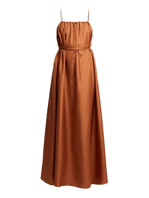 THREE GRACES LONDON gwendoline gathered silk maxi dress