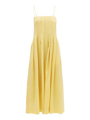 THREE GRACES LONDON lucia pleated cotton-gauze maxi dress