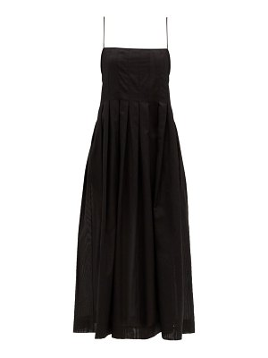 THREE GRACES LONDON lucia pleated cotton-gauze midi dress