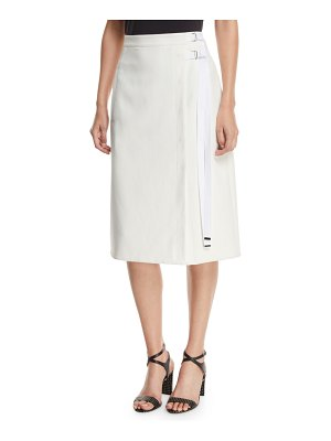 Tibi Anson Stretch A-Line Belted Skirt