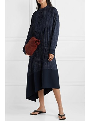 Tibi asymmetric gathered polka-dot voile midi dress