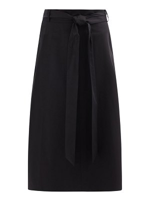 Tibi belted organic cotton-poplin midi skirt
