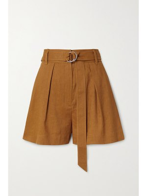 Tibi belted pleated linen-blend shorts