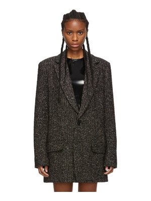 Tibi black and multicolor recycled tweed long blazer