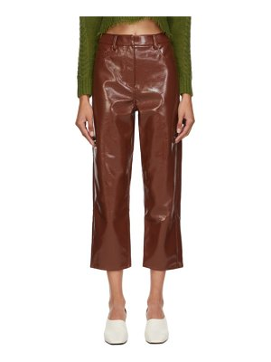Tibi burgundy faux-leather cropped carpenter trousers