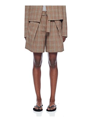 Tibi Check Pleated Relaxed Shorts
