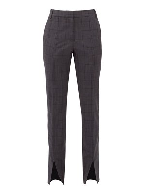 Tibi checked wool blend slim leg trousers
