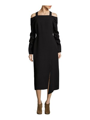 Tibi Cold-Shoulder Midi Dress