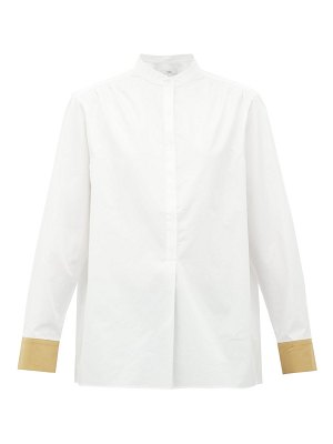 Tibi contrast-cuff cotton shirt