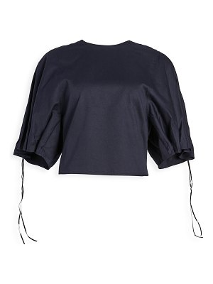 Tibi drawcord sleeve top