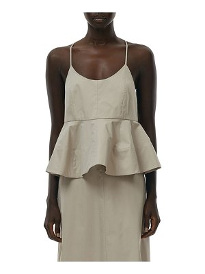 Tibi Eco Poplin Sculpted Peplum Cami Top