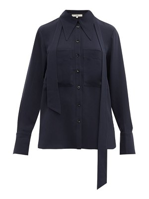 Tibi exaggerated collar neck tie blouse