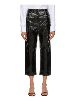Tibi faux-leather cropped carpenter trousers
