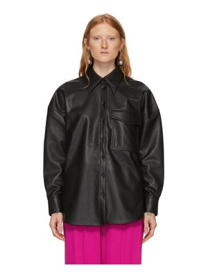 Tibi faux-leather relaxed utility blouse