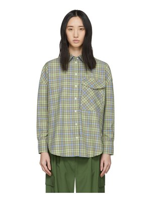 Tibi green and beige recycled check relaxed utility shirt