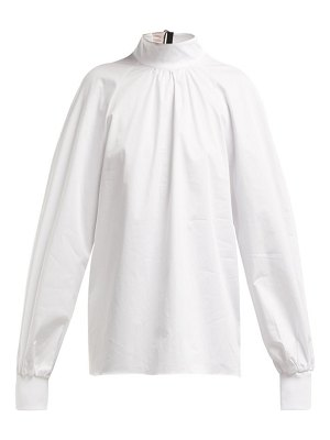 Tibi high neck cotton poplin blouse