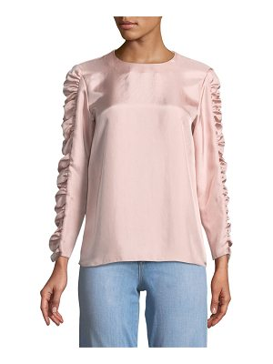 Tibi Mendini Shirred Twill Top