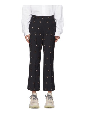 Tibi navy ant embroidery cropped trousers