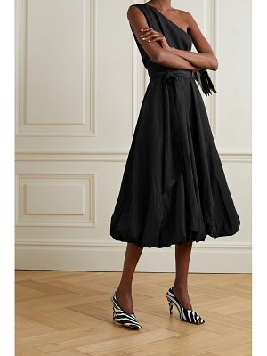 Tibi one-shoulder belted taffeta midi dress