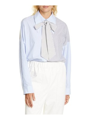 Tibi patchwork pinstripe cotton shirt