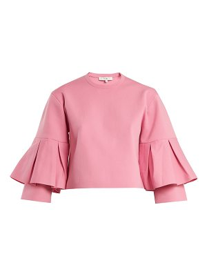 Tibi Pleated-sleeve cropped top
