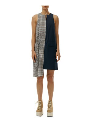 Tibi Sana Check Colorblock Sleeveless Dress