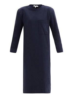 Tibi shoulder-padded long-sleeved cotton-jersey dress