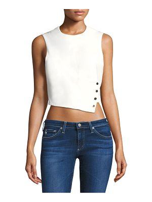 Tibi sleeveless snap flap cropped top