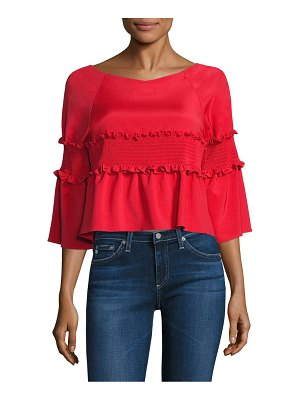 Tibi Smocked Cropped Top