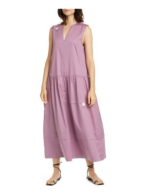 Tibi split neck eco poplin midi dress
