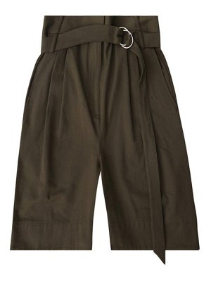Tibi stella belted cotton-drill wide-leg shorts