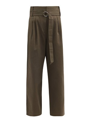 Tibi stella belted cotton-drill wide-leg trousers