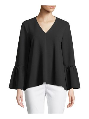 Tibi Structured Bell-Sleeve Crepe Top