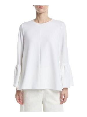 Tibi Structured Crepe Bell-Sleeve Top