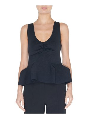 Tibi Tech Ribbed Sculpted Peplum Tank