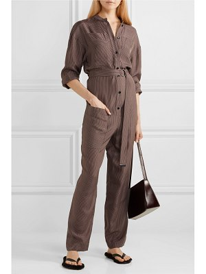 Tibi walden belted checked cupro jumpsuit