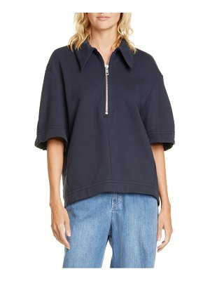 Tibi zip cotton blend top